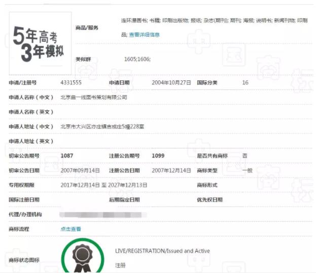 王俊凯爱刷的整套《五三》,商标注册被驳回了